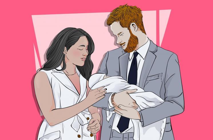 Ilustrasi Meghan Markle dan Pangeran Harry bersama anak pertamanya. (DewiKu.com/Ema Rohimah)